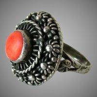 Antique Etruscan Natural Coral Cannetille Sterling Silver Ring, Size 7.25