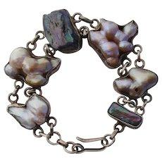 INCREDIBLE Baroque Pearls Unusual Sterling Vintage Bracelet - HUGE COLORFUL Luscious Iridescent Pearls !