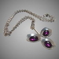 Vintage Jorgen Jensen Purple Glass Pewter Pendant Necklace, Son of Georg Jensen, Denmark - 1960's