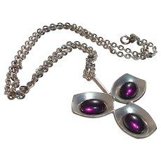 Vintage Jorgen Jensen Purple Glass Pewter Pendant Necklace, Son of Georg Jensen, Denmark - 1960's