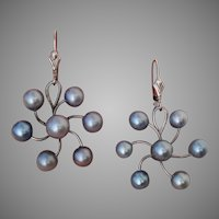 Fantastic Blue Akoya Cultured Pearl Sterling Mid-Century Earrings - Converted to Lever Backs for You !