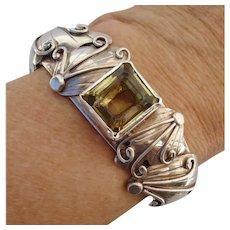 Gorgeous NAKAI Navajo Lemon Lime Citrine & Sterling Silver Vintage Hand Made Cuff Bracelet
