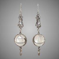 """Vintage Rock Quartz Hands & Floral 2.55"""" Pools of Light Sterling Earrings"""