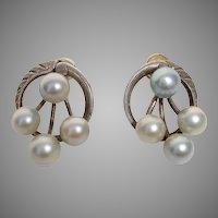 Fantastic Silver Blue Akoya Pearl PIERCED / Post Sterling Mid-Century Earrings