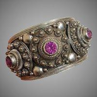 VALENTINE SPECIAL ! ..Gorgeous SUBSTANTIAL 68.80 Grams Purple Rhodolite Garnet Siam Sterling Cannetille Vintage Cuff Bracelet