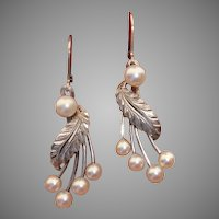 """Fabulous Akoya Cultured Pearls & Sterling 1.85"""" Mid-Century Earrings - Converted to Lever Backs for You !"""