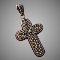 Lovely Sterling Silver Cross Vintage Pendant with Marcasite & Seed Pearl