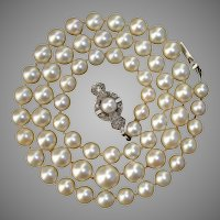 "VALENTINE SPECIAL ! ..Luscious Diamonds, 18K White Gold & Salt Water Pearl 20"" Vintage Necklace"