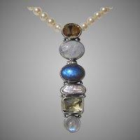 """VALENTINE SPECIAL ! ..LARGE 3.25"""" Modernist Citrine, Labradorite, Pearl & Moonstone Vintage Sterling Pendant !"""