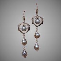 "Gorgeous Blue Akoya Cultured Pearls & Sterling 2.5"" Sterling Earrings - Lever Backs"