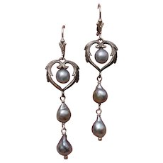 "Gorgeous Blue Akoya Cultured Pearls & Sterling Heart 2.5"" Earrings - Lever Backs"