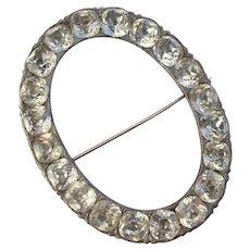 "VALENTINE SPECIAL ! ..HUGE Georgian 2.9"" Cushion Cut Diamond Paste Glittering Antique Brooch"