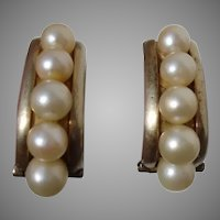 Radiant MIKIMOTO Rare 'CPO' Akoya Pearls .950 Sterling Japanese Gold-Over-Silver Vintage Earrings - 1940s