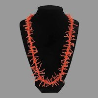 """Vintage Salmon Branch Coral Beads 23"""" Necklace"""
