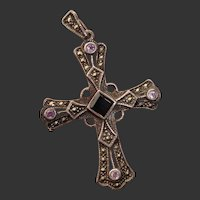 Beautiful Cross w/ Amethyst, Onyx & Marcasite Vintage Sterling Silver Pendant