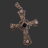 Beautiful Cross w/ Amethyst, Onyx & Marcasite Vintage Sterling Silver Pendant