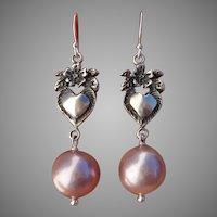 "Beautiful Pink Edison Pearls & Vintage Sterling Floral Hearts 1.95"" Dangle Earrings"