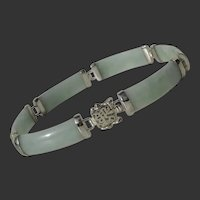 Classic & Lovely Green Jade Vintage Sterling Silver Good Fortune Bracelet