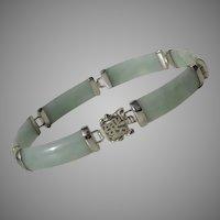Classic & Lovely Green Jade Vintage Sterling Good Fortune Bracelet