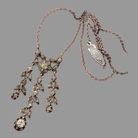 Delicate Belle Epoque White Diamond Paste Antique Victorian Silver Necklace - circa 1880's !