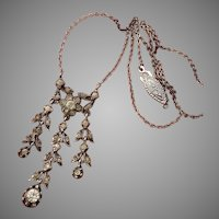 Delicate Belle Epoque White Diamond Paste Antique Victorian Silver Necklace - circa 1880's & Gorgeous !!