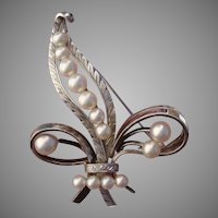 "Beautiful LARGE 2.45"" Japanese Akoya Cultured Pearls Vintage Sterling Silver Brooch, Mid-Century"