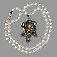 """Lovely Sterling Rose Pendant on 14K Gold 6mm Salt Water Pearl 18.25"""" Vintage Necklace"""