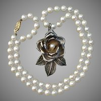 "Beautiful Sterling Rose Pendant on 14K Gold 6mm Salt Water Pearl 18.25"" Vintage Necklace"