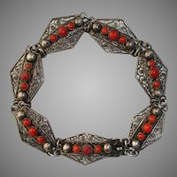 "Antique Etruscan Natural Red Coral & .800 Silver 7.85"" Bracelet"