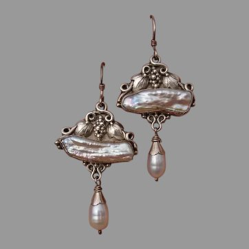 """Vintage 2.2"""" Artisan Freshwater Stick & Drop Pearl Sterling Silver Grapes & Leaves Dangle Earrings -- Hand Made, Artist Signed"""