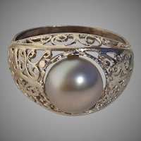 Beautiful Swirling Openwork Blue Akoya Pearl & Sterling Silver Vintage Ring - Size 6