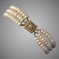 Lovely Akoya Pearls & Diamond Gold Vermeil Sterling Bracelet, Vintage 1970's