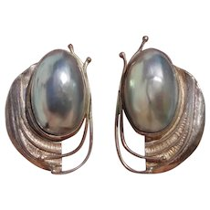 """Gorgeous 1.7"""" Designer Nautilus Shell Osmena Pearl Sterling Silver Clip Earrings -- Artist Hand-Signed"""
