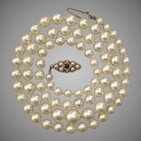 "Antique Golden Cream Pearls w/ 9K Gold Garnet & Grey Seed Pearl Clasp 21"" Necklace"