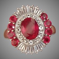 DAZZLING Ruby & White Topaz Vintage Sterling Silver Cocktail Ring, Size 6.75 - Signed !