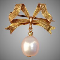 Beautiful Georgian 12+ Karat Gold Bow & Pearl Antique Brooch - Signed & English, Edinburgh date stamped 1734