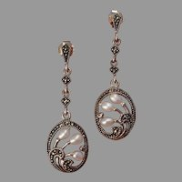 Vintage Cultured Pearls & Sterling Silver Marcasite Floral Dangle Post Earrings -- Artist Signed