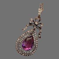 GORGEOUS French Belle Epoque Diamond & Amethyst Paste Silver Antique Pendant Necklace - 1890's