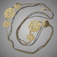 "Fabulous Italian Designer CALGARO Sterling Silver Openwork Disks Woven Sterling Necklace - 46"" Long !"
