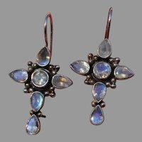 "SALE ! Amazing Blue Moonstone & Sterling Silver Cross 1.55"" Vintage Pierced Earrings- Signed"