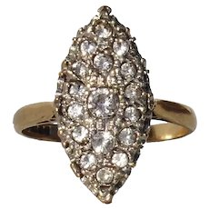 Dazzling White Topaz 9Ct Gold Marquise Navette Vintage Hearts Ring, Birmingham England Hallmarks - Ring Size 8