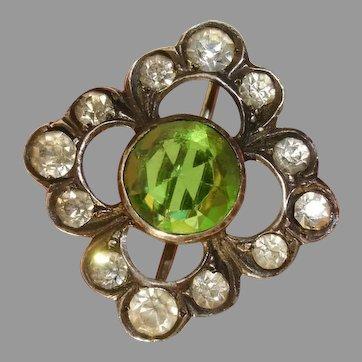 Dainty Antique Silver Emerald, Diamond Paste Art Deco Brooch