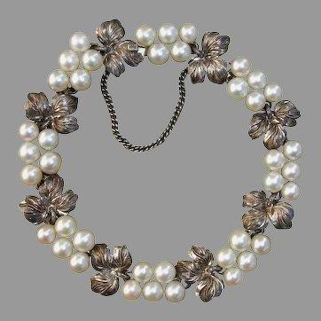 Gorgeous MIKIMOTO .950 Sterling Bracelet - Akoya Pearl Grapes & Leaves, Japanese Vintage 1935 !