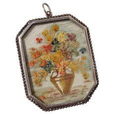 Amazing Rare Dried Flowers in Vase Work of Art Sterling Pendant - Antique Edwardian Germany