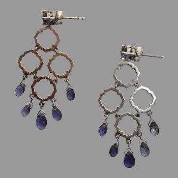 Fabulous Tanzanite & Sterling Silver Vintage Pierced Dangle Earrings