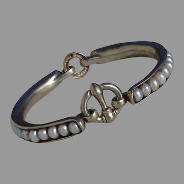 "Beautiful & Unique Blue Grey Akoya Pearls Sterling Silver 7"" Vintage Bangle Bracelet"