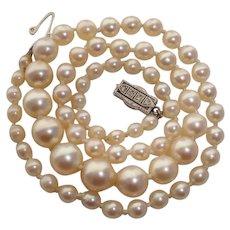 SUPER RARE 1920's Mikimoto Art Deco Rose Cut Diamonds, Platinum & 18K Gold Akoya Vintage Pearl Necklace