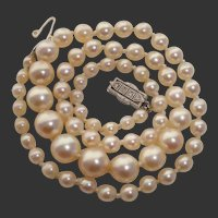 SUPER RARE 1920's Mikimoto Platinum & 18K White Gold, Art Deco, Rose Cut Diamonds, Akoya Vintage Pearl Necklace