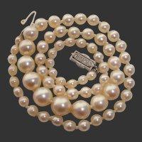 SUPER RARE 1920's Mikimoto Platinum & 18K White Gold, Art Deco, Rose Cut Diamonds, Akoya Vintage Pearl Necklace