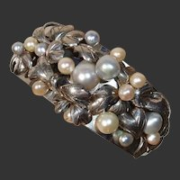 "INCREDIBLE Large Akoya Pearl ""Berries & Leaves"" Sterling WIDE Cuff Vintage Bracelet !"